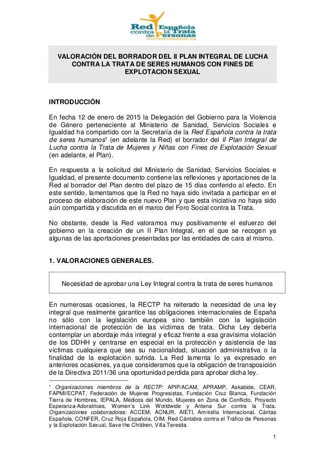 1 VALORACIÓN DEL BORRADOR DEL II PLAN INTEGRAL DE LUCHA CONTRA LA TRATA DE SERES HUMANOS CON FINES DE EXPLOTACION SEXUAL I...