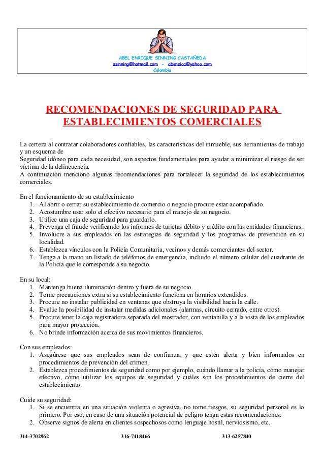 ABEL ENRIQUE SINNING CASTAÑEDA asinning@hotmail.com - abensica@yahoo.com Colombia  RECOMENDACIONES DE SEGURIDAD PARA ESTAB...