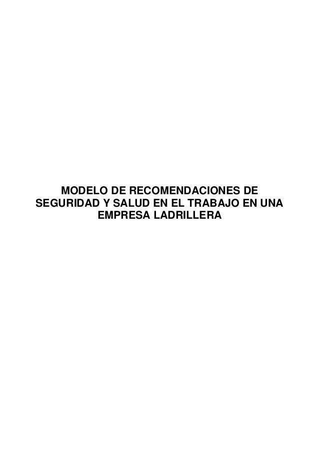 MODELO DE RECOMENDACIONES DE SEGURIDAD Y SALUD EN EL TRABAJO EN UNA EMPRESA LADRILLERA