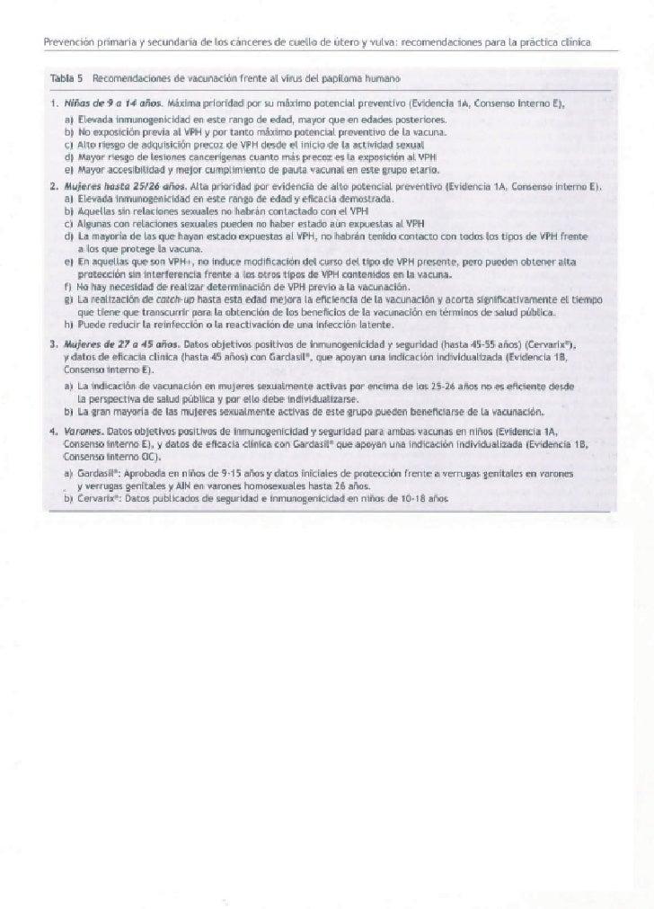 Recomendaciones de vacunación frente al virus del papiloma humano