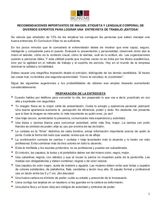 1   RECOMENDACIONES IMPORTANTES DE IMAGEN, ETIQUETA Y LENGUAJE CORPORAL DE DIVERSOS EXPERTOS PARA LOGRAR UNA ENTREVIST...