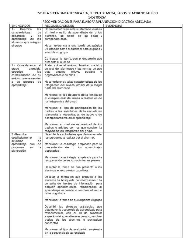 ESCUELA SECUNDARIA TECNICA 156, PUEBLO DE MOYA, LAGOS DE MORENO JALISCO 14DST0065V RECOMENDACIONES PARA ELABORAR PLANEACIÓ...