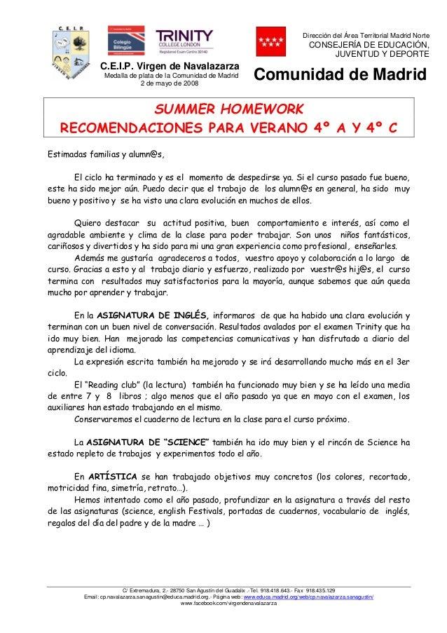 Recomendaciones Para El Verano 4º Completas