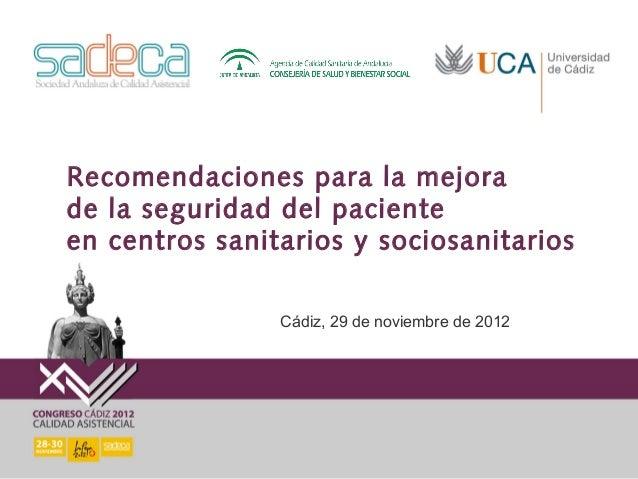 Recomendaciones para la mejorade la seguridad del pacienteen centros sanitarios y sociosanitarios                Cádiz, 29...