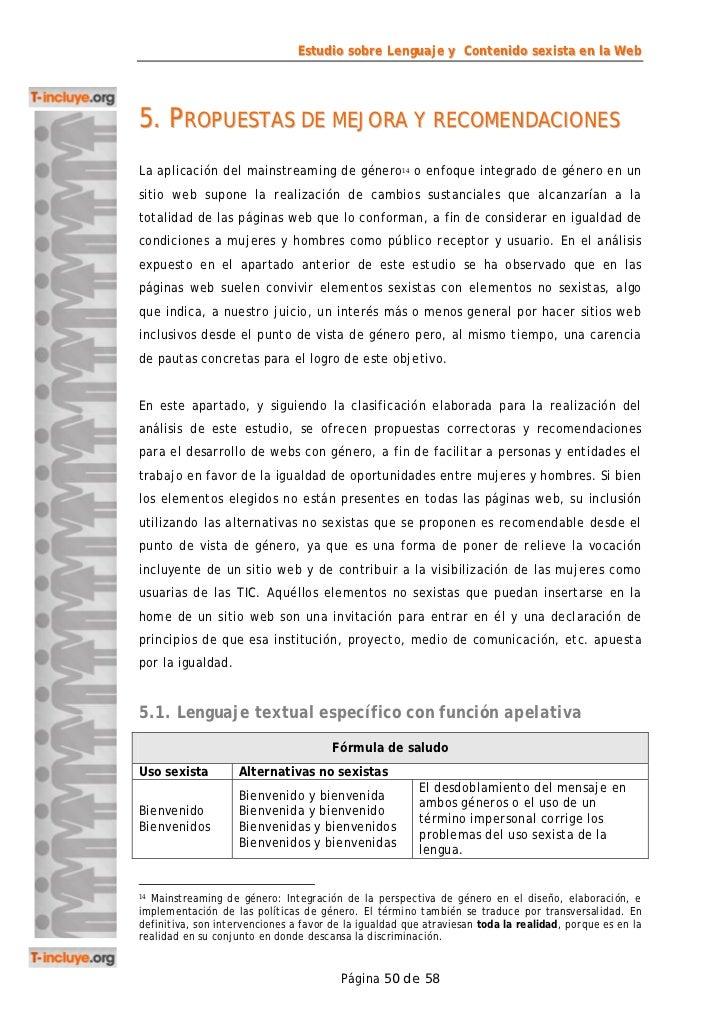 Estudio sobre Lenguaje y Contenido sexista en la Web5. PROPUESTAS DE MEJORA Y RECOMENDACIONESLa aplicación del mainstreami...