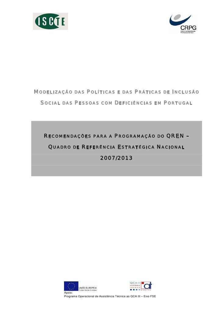 MODELIZAÇÃO      DAS     POLÍTICAS             E DAS       PRÁTICAS            DE   INCLUSÃO   SOCIAL   DAS    PESSOAS    ...