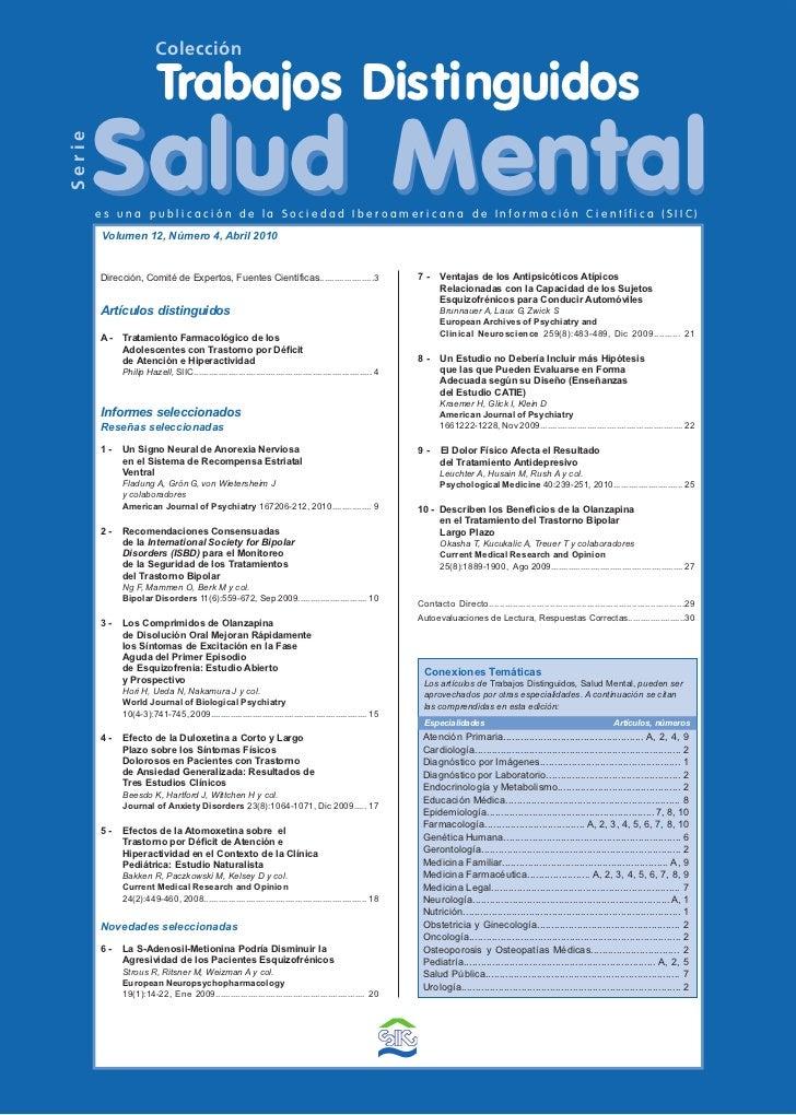 Colección                         Trabajos Distinguidos        Salud MentalSerie        es una publicación de la Sociedad ...