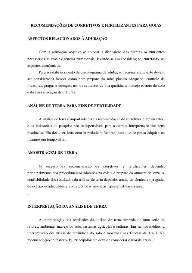 RECOMENDAÇÕES DE CORRETIVOS E FERTILIZANTES PARA GOIÁS  ASPECTOS RELACIONADOS À ADUBAÇÃO  Com a adubação objetiva-se coloc...
