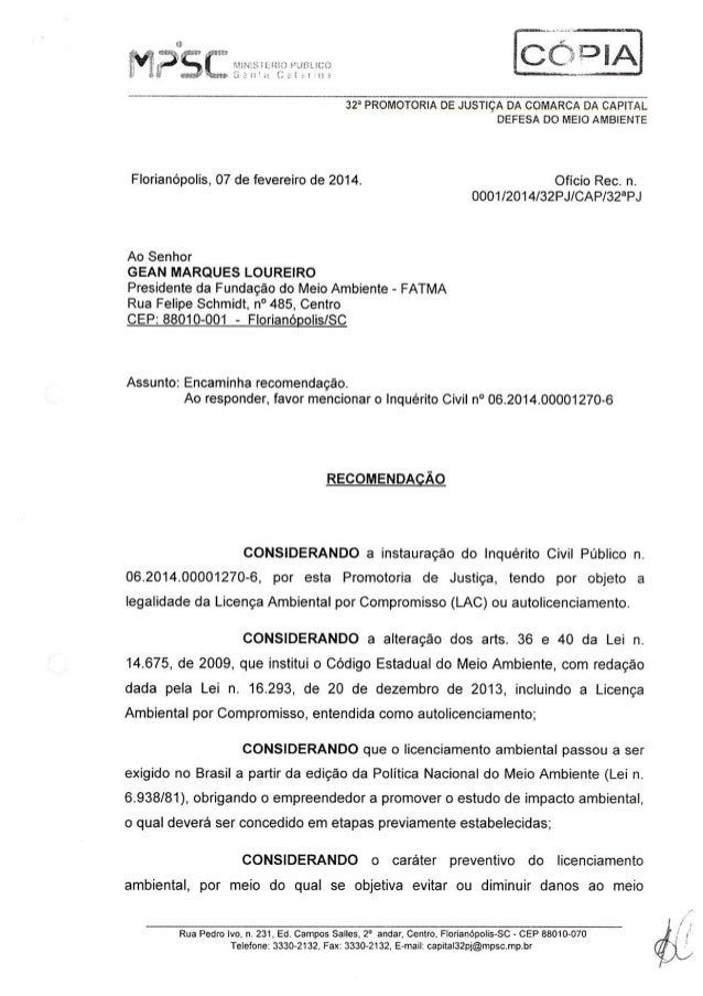 Recomendação - Autolicenciamento - Fatma - Florianópolis