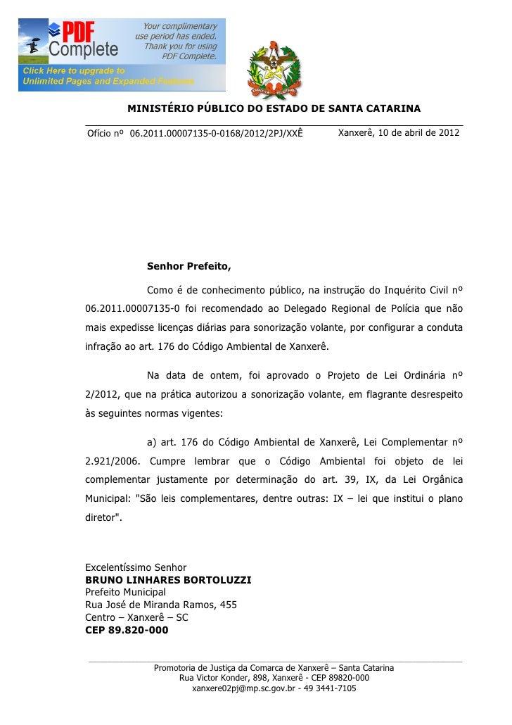 MINISTÉRIO PÚBLICO DO ESTADO DE SANTA CATARINAOfício nº 06.2011.00007135-0-0168/2012/2PJ/XXÊ                  Xanxerê, 10 ...
