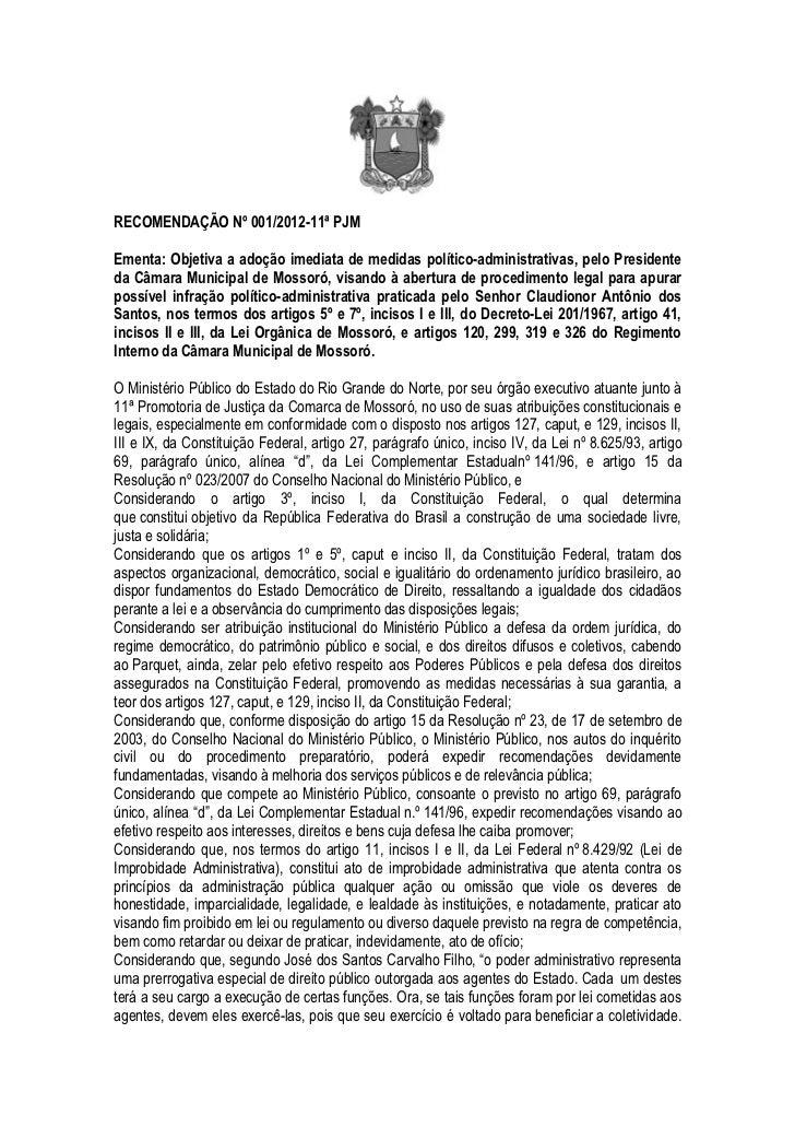 Recomendação 001 Câmara Municipal de Mossoró