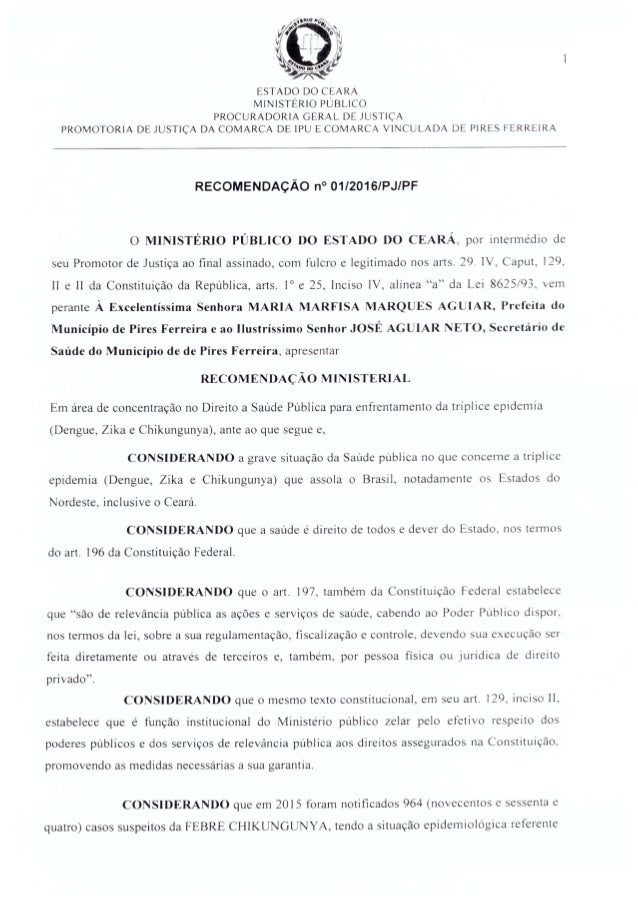 Recomendação 01-2016 pra Pires Ferreira
