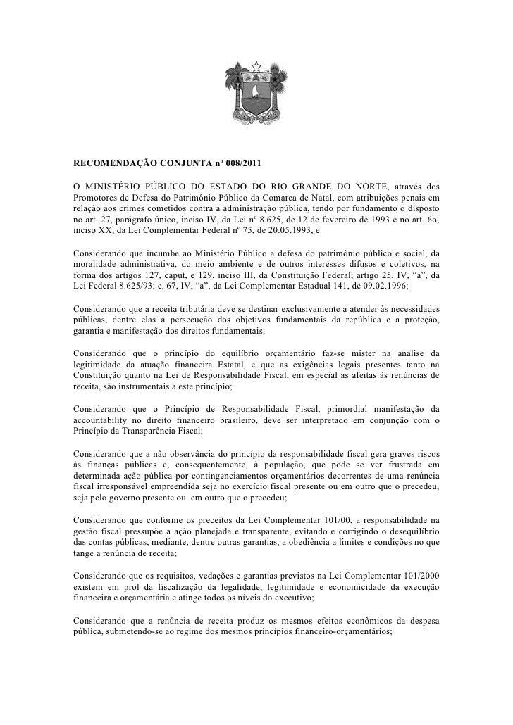 Recomendação conjunta nº 008 renuncia fiscal natal