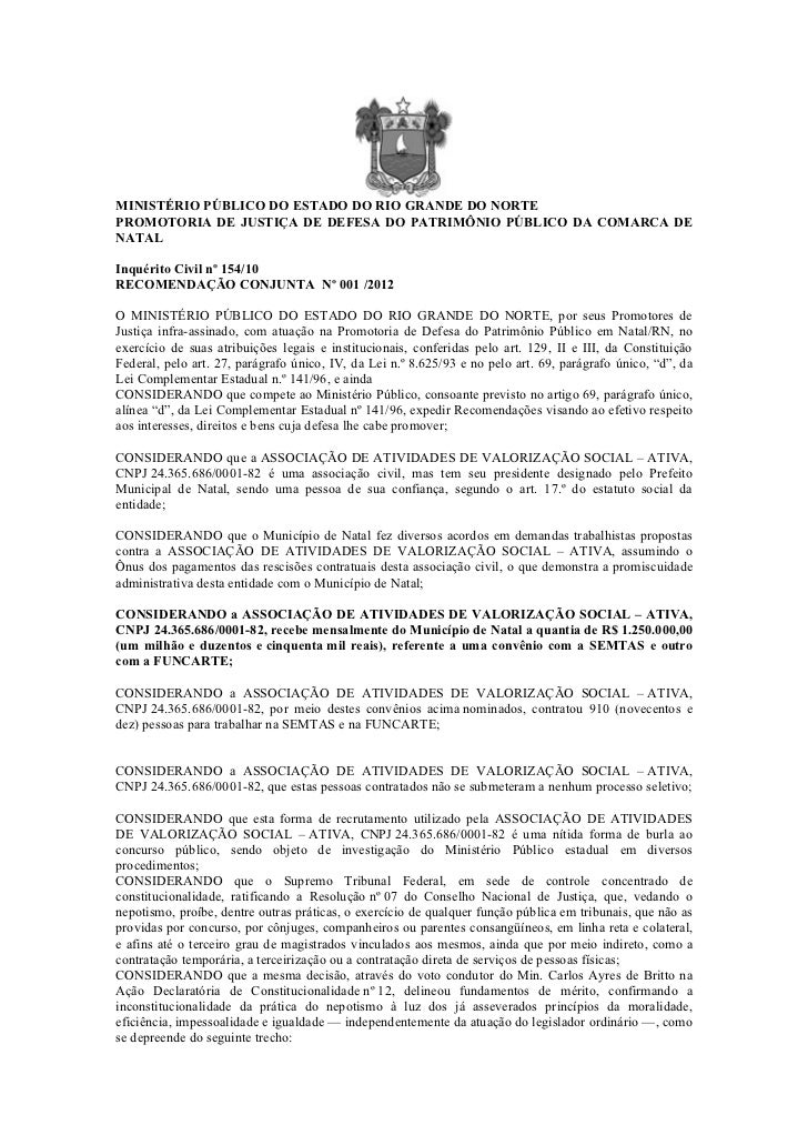 MINISTÉRIO PÚBLICO DO ESTADO DO RIO GRANDE DO NORTEPROMOTORIA DE JUSTIÇA DE DEFESA DO PATRIMÔNIO PÚBLICO DA COMARCA DENATA...