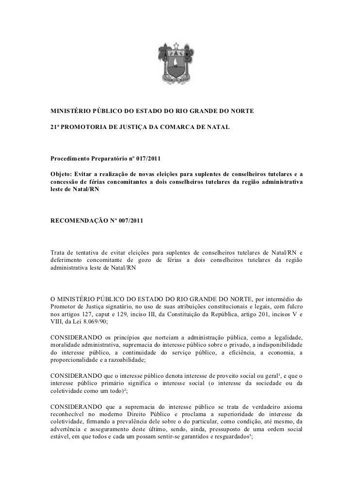 MINISTÉRIO PÚBLICO DO ESTADO DO RIO GRANDE DO NORTE21ª PROMOTORIA DE JUSTIÇA DA COMARCA DE NATALProcedimento Preparatório ...