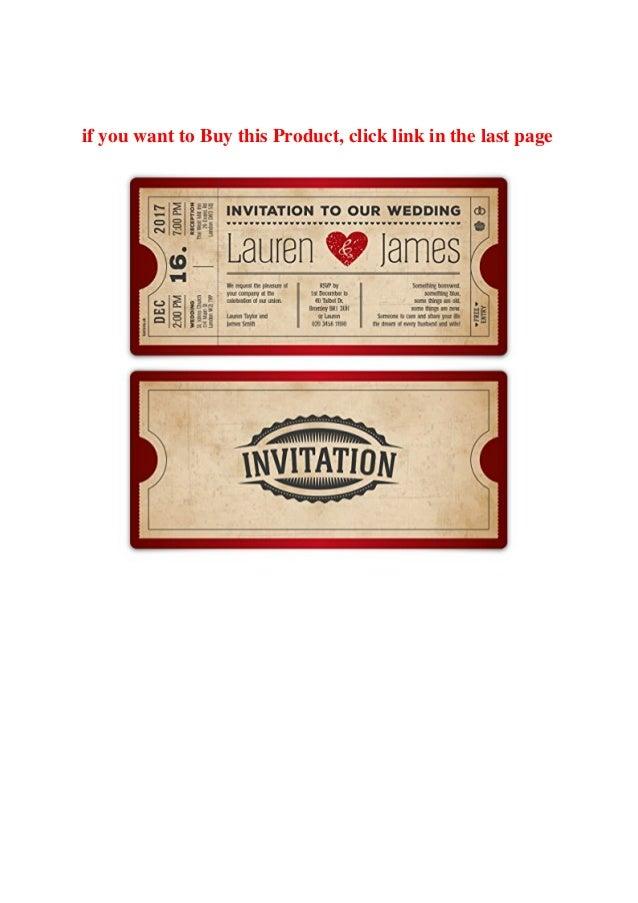 Red Vintage Heart Cinema Ticket Pass Wedding Invitation Cards Invite