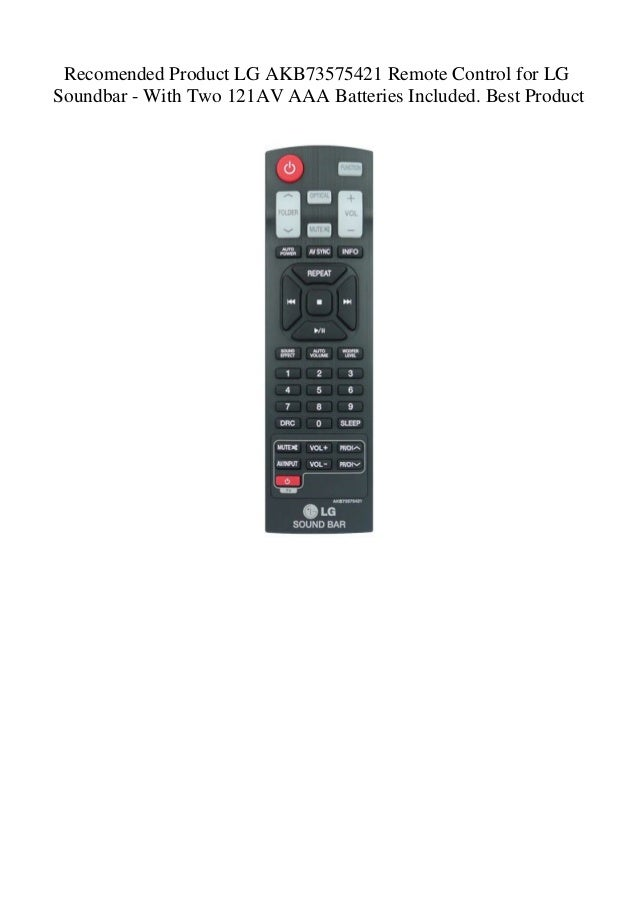 Recomended Product LG AKB73575421 Remote Control for LG Soundbar - Wi…