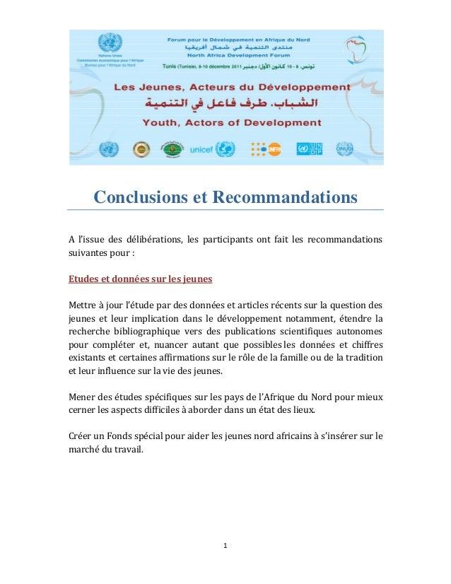1  Conclusions et Recommandations  A l'issue des délibérations, les participants ont fait les recommandations...