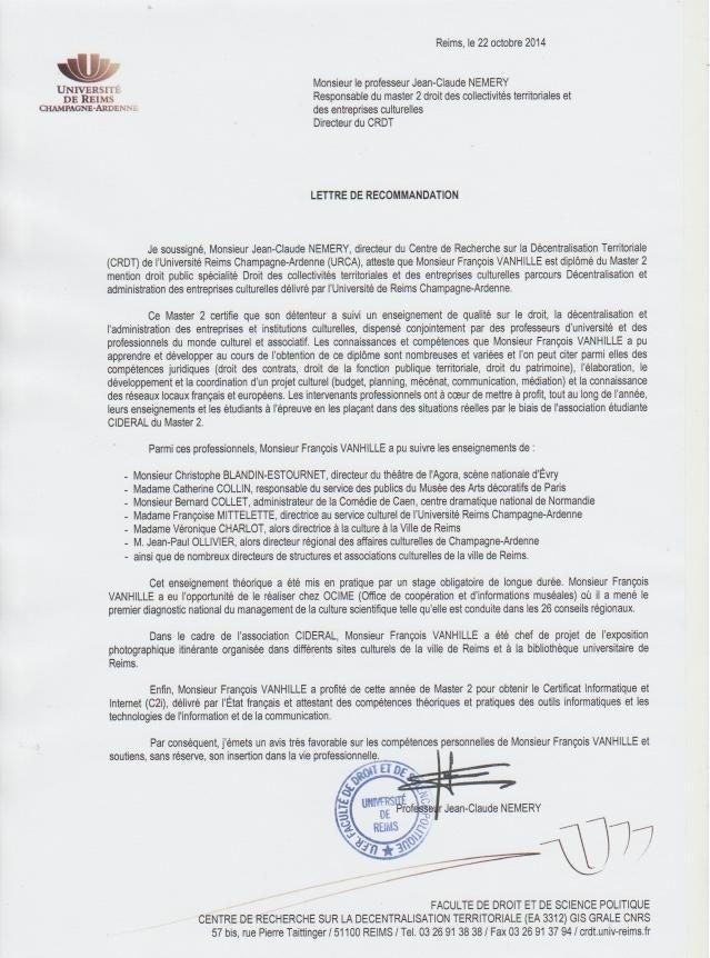 Lettre de recommandation crdt master 2 droit collectivits territoria altavistaventures Image collections