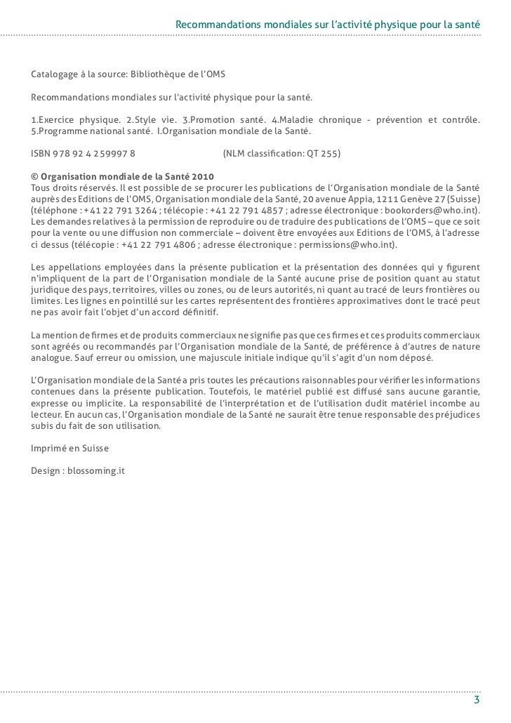 Recommandations mondiales-activite-physique-sante-fr Slide 3