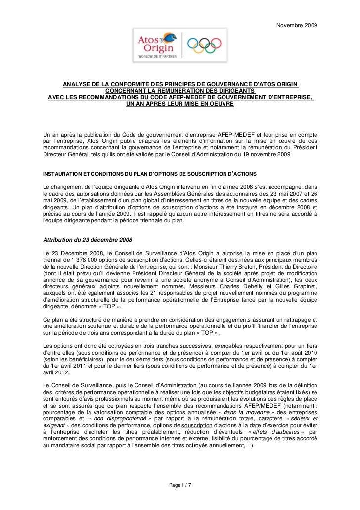 Novembre 2009           ANALYSE DE LA CONFORMITE DES PRINCIPES DE GOUVERNANCE D'ATOS ORIGIN                   CONCERNANT L...