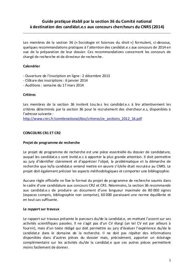 Guidepratiqueétabliparlasection36duComiténational àdestinationdescandidat.e.sauxconcourschercheursduCNRS...