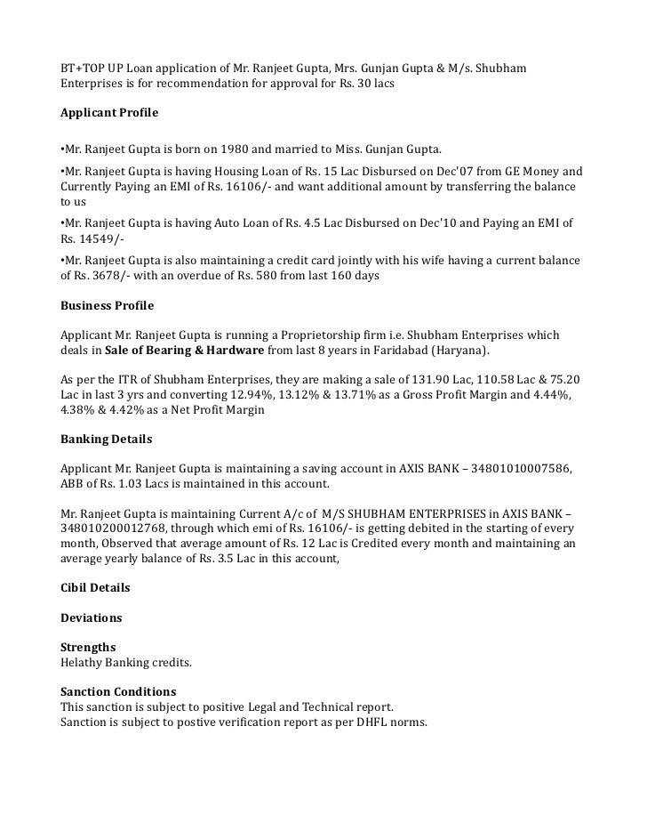 BT+TOP UP Loan application of Mr. Ranjeet Gupta, Mrs. Gunjan Gupta & M/s. ShubhamEnterprises is for recommendation for app...