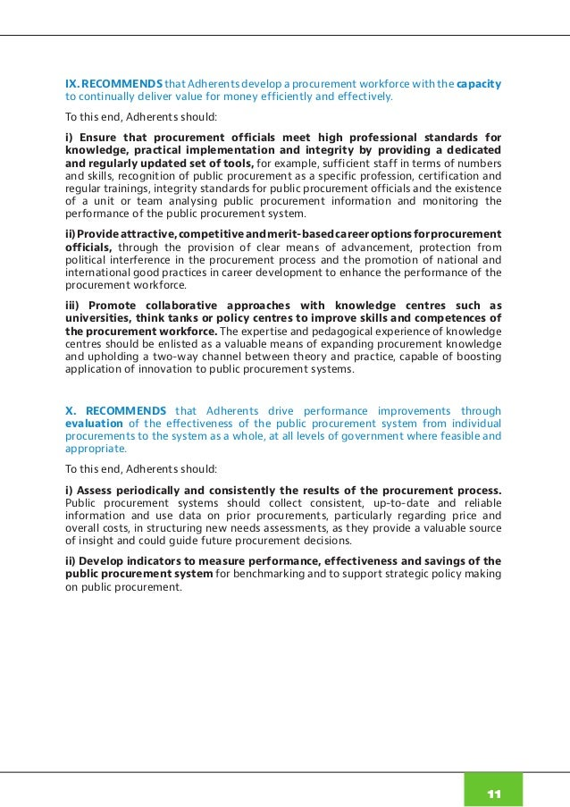 Oecd Recommendation On Public Procurement 2015