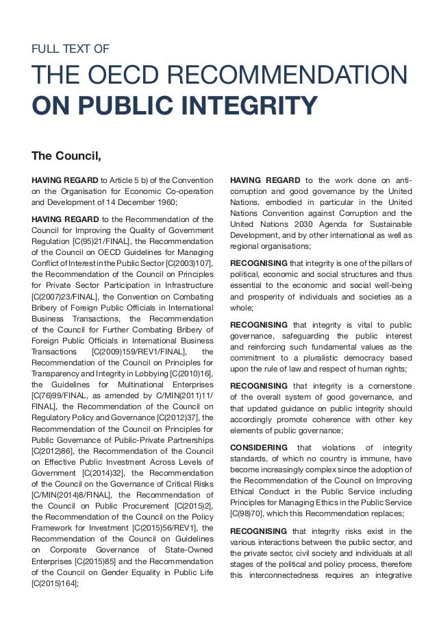 Oecd Recommendation On Public Integrity 26 January 2017 border=