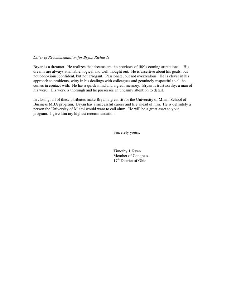 Letter Of Recommendation Us Representative Timothy Ryan
