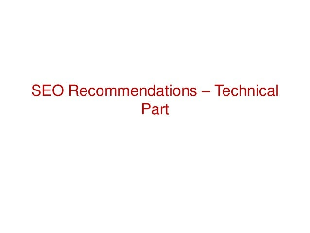 SEO Recommendations – Technical Part