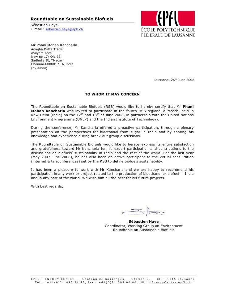 Roundtable on Sustainable Biofuels Sébastien Haye E-mail : sebastien.haye@epfl.ch    Mr Phani Mohan Kancharla Anagha Datta...