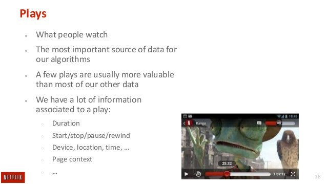 Plays ●  What people watch  ●  The most important source of data for our algorithms  ●  A few plays are usually more valua...