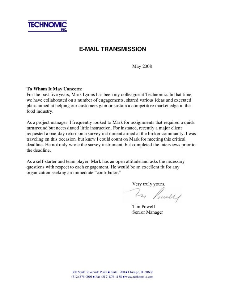 a reference letter recommendation letter from tim powell 6067