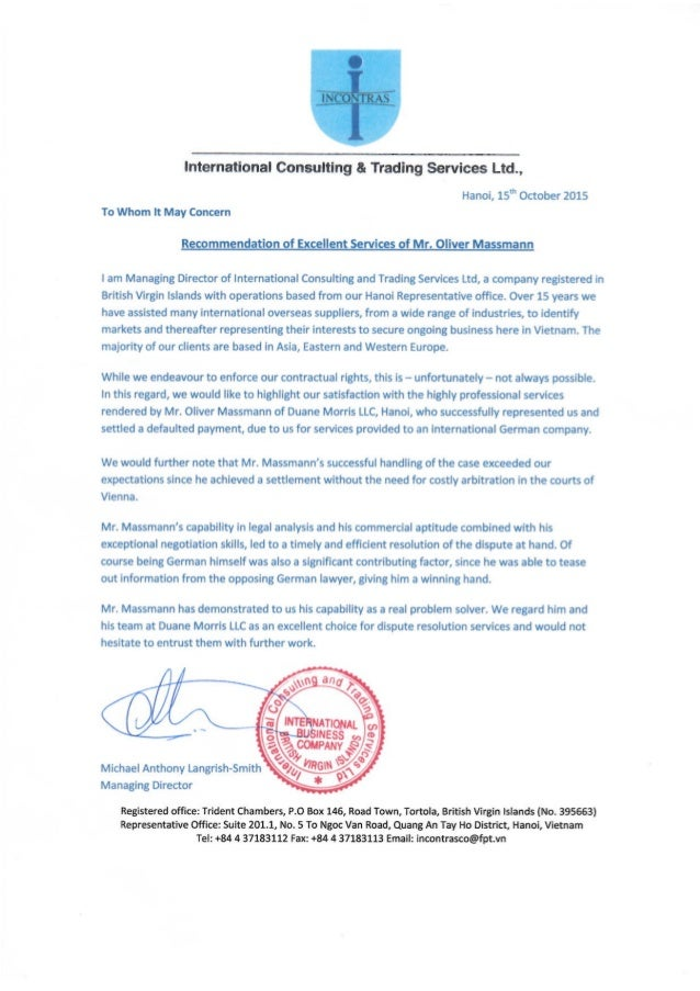 Recommendation of Excellent Services of Mr. Oliver Massmann - International Consulting and Trading Services Ltd