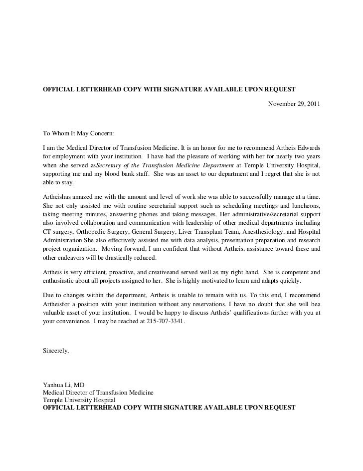 Recommendation Letter For Artheis Yl