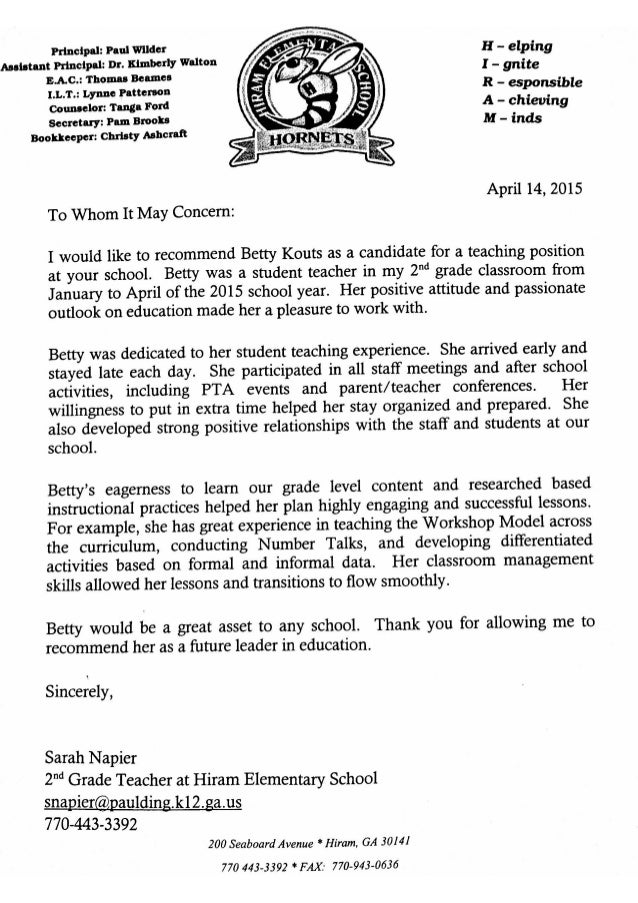recommendation letter from sarah napier