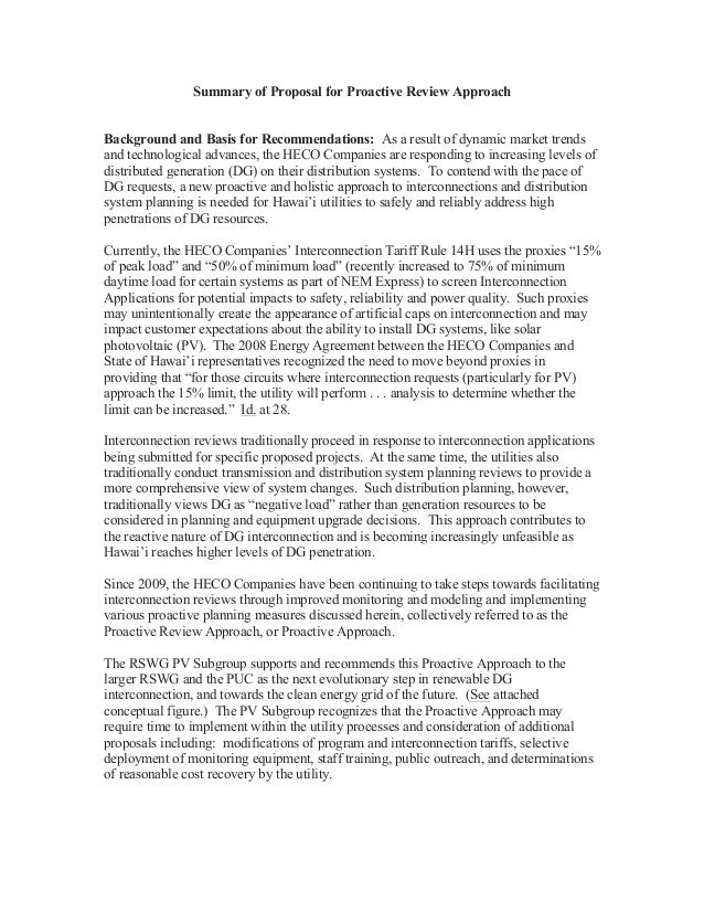 Summary of Proposal for Proactive Review ApproachBackground and Basis for Recommendations: As a result of dynamic market t...