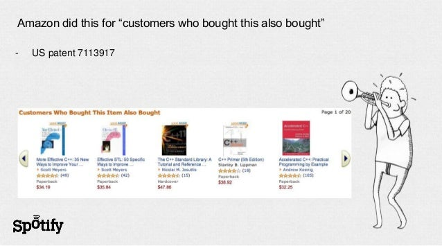 """Amazon did this for """"customers who bought this also bought""""-   US patent 7113917"""