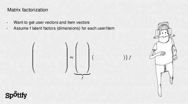 Matrix factorization-   Want to get user vectors and item vectors-   Assume f latent factors (dimensions) for each user/item