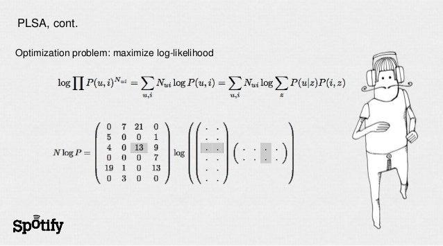 PLSA, cont.Optimization problem: maximize log-likelihood