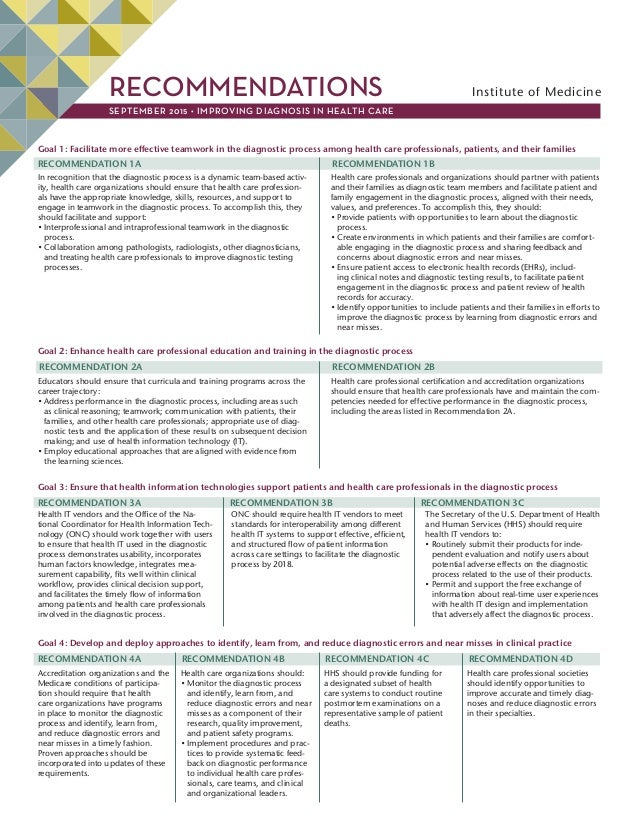 RECOMMENDATIONS Institute of Medicine SEPTEMBER 2015 • IMPROVING DIAGNOSIS IN HEALTH CARE Goal 1: Facilitate more effectiv...