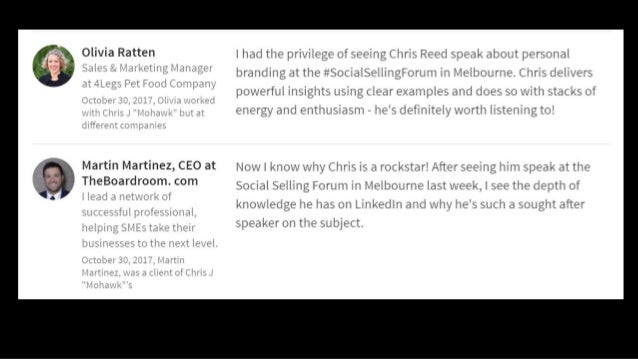 Great presentation today Chris and it opened up my eyes as to what you can do with LinkedIn. So much more than just a plac...
