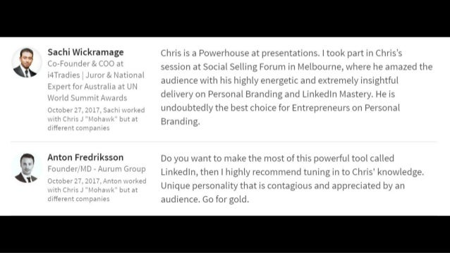 """"""" Chris' workshop was very engaging and provides invaluable tips and insights on using LinkedIn for branding, marketing an..."""