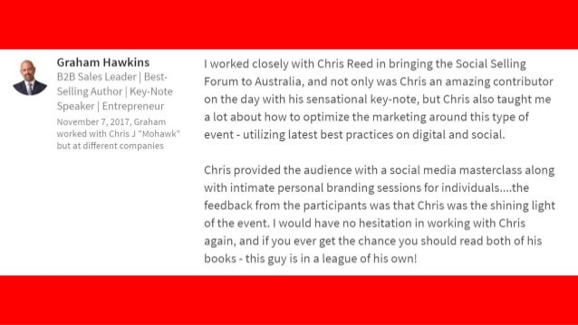 """""""I thoroughly recommend making the time to connect with Chris and attending one of his events. The content is memorable an..."""