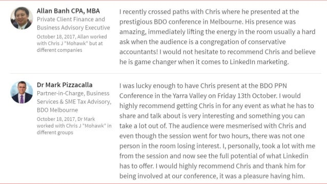 """"""" Attended Chris' sharing on 'Getting the most out of LinkedIn' recently. Chris is an engaging, enthusiastic and enlighten..."""