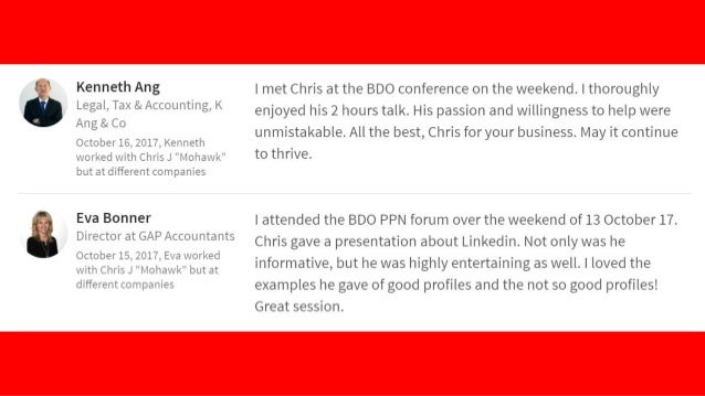 """""""Chris is a great speaker - knowledgeable, to the point, always lots of great takeaways. I've already made some changes to..."""