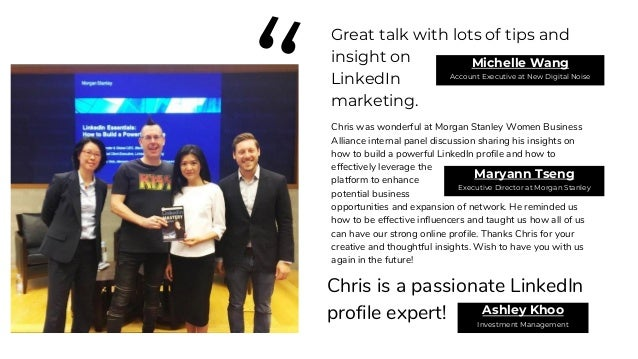 """"""" Chris brings a wealth of experience and insight to his interactive and practical workshop. I would definitely recommend ..."""