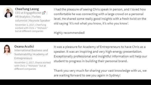 """"""" Hi Chris, I am really impressed with you at the networking session! You share your thoughts and experience seriously but..."""