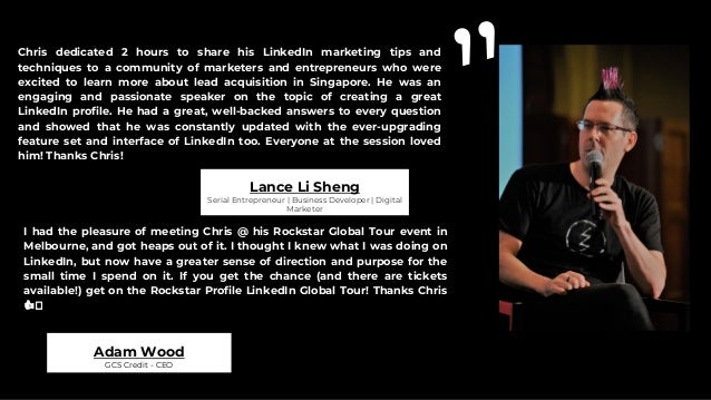 Chris is a leading leader and expert in LinkedIn who has wealth of experience and quick tips to help Professionals and bus...